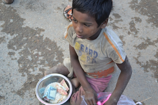 Small Disabled Boy Begging At The Hindu Festival